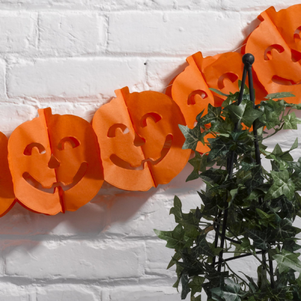 Halloween Tissue Paper Orange Pumpkin Garland